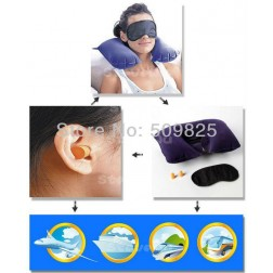 3 Piece Travel Essentials Kit Including Eye Mask, Inflatable Pillow And Anti-Noise Earplugs