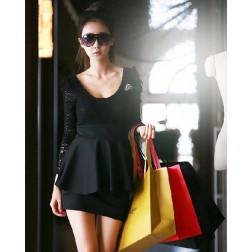 Stylish Black Lace And Silk Floss Women's Dress
