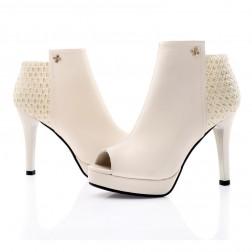 Peep Toe Side-zipper Casual Womens Pencil Heels