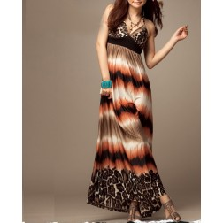 Leopard V-Neck Casual Women's Silk Dress