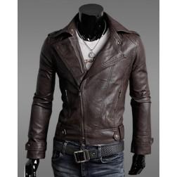 Korean Style Men's Slim Leather Motorcycle Jackets