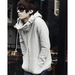 Men's Casual Lint Zippered Hooded Long Sleeve Sweatshirt