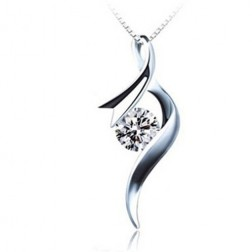 Solid White Brass Plated Platinum Necklace Pendant