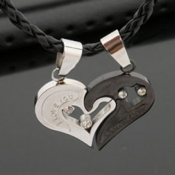Romantic Titanium Steel Peach Heart Lovers Pendant Necklace