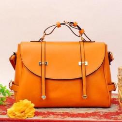 PU Solid Leather Straps Zipper Closure Large Women Messenger Bag