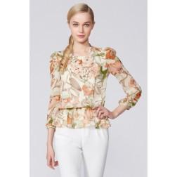 Printed Lotus Chiffon Shirt