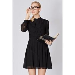 Slim Black Long-Sleeve Short Dress Spring Summer Fashion