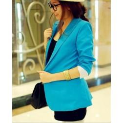 Casual Solid Stripe Slim One Button Long Sleeve Women's Blazer