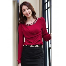 Puffy Long Sleeve Round Neck Casual Dacron Women's Blouse