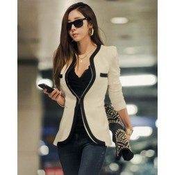 Fashionable Polyester Two Tone V Neck Long Sleeve Women's Blazer
