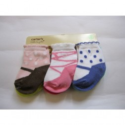 6 Pair Carter's Baby Girl Shoe Socks - Size 0-3M