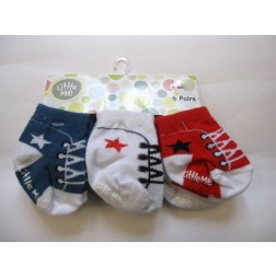 6 Pair Set of Litte Me Infant Sneaker Socks