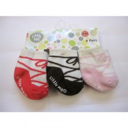 Little Me Baby Girl Ballerina Shoe Designer Socks, 6 Pair Set Size 0-6M