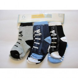 6 Pair Vitamins Baby Boy Socks Sneakers and Stripe Designs 6-12M