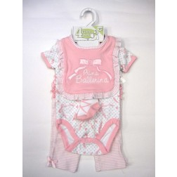 Baby Gear Prima Ballerina 4 pc Baby Girl Pink Clothing Set 3-6m