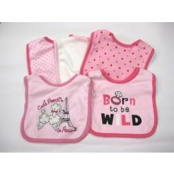 5pc. Baby Gear Pink Girl Bib Set 'Born to Be Wild'