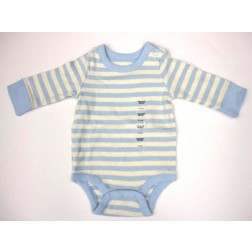 GAP Infant Blue Striped Long Sleeve Bodysuit - Size 0-3M or 3-6M