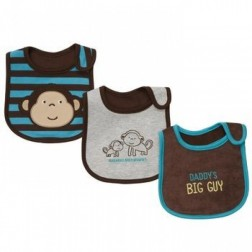 Carter's 3 Pc. Brown and Blue Boy Bib Set with Monkey Animals
