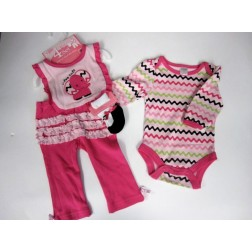 Baby Gear 4pc Pink Elephant Infant Garment Set 6-9M