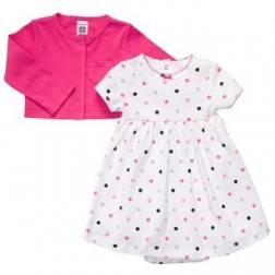 Carter's Baby Girl White Polka Dot Dress and Pink Cardigan Set - 6M, 9M