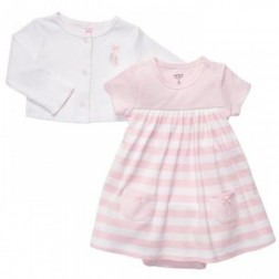 Carter's Baby Girl Pink Stripe Dress and White Cardigan Set - 9M