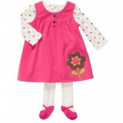 Carter's 3pc Pink Infant Girl Outfit - Dress, Shirt and Leggings -18M