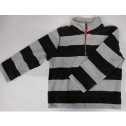 Carter's Fleece Toddler Jacket - Black And Grey Stripes - 2T, 4T