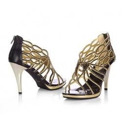Stylish Rhinestone Cutout Stilleto Back Zipper Women Sandals