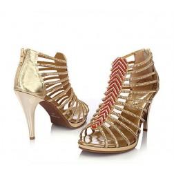 Sheepskin Rhinestone Stilleto Cutout Back Zipper Women Sandals