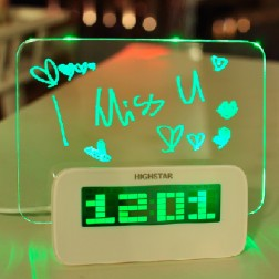 LED Digital Alarm Clock With Luminous Message Board And Calendar