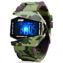 Military Coloured LED Stealth Fighter Shaped Sports Watch With 50m Water Resistant