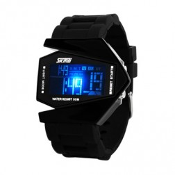 Very Cool Stealth Fighter Shaped Digital Sports Watch With Large LED Display AND 5 Colours Back-light