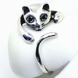 Cute Sterling Silver Cat Shaped Women Ring