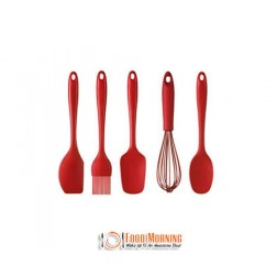 Reignite Your Passion for Cooking with this 5 Piece Set of Zesty Red Coloured Silicone Utensils