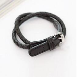 Watch Style Buckle Faux Leather Charm Bracelets
