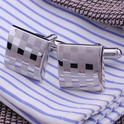 Checked High Polished Textured Men's Copper & Stainless Steel Cufflinks