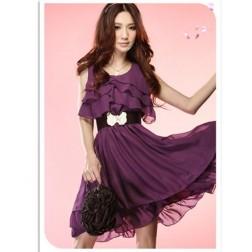 Sleeveless Meryl & Milk Silk Ruffle Pleated Sexy Women's Dress