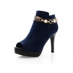 Chain Decorated Women's Peep Toe Stiletto Short Boots