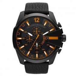 Fashionable Chronograph Design Black Men's Leather Watch With Date