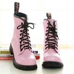 Solid Flocking Women Lace-Up Flat Boots