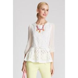 White Women's Dressy Lace Summer Blouse 3-Quarter Long Sleeve Sheer Shirt