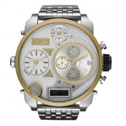 Stainless Steel Bronze Accent Chronograph Mens Dual Time Sports Watch