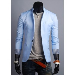 Solid Colour One Button Stand Collar Polyester Long Sleeve Men's Blazer