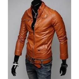 Solid PU Leather Zippered Stand Collar Long Sleeve Slim Mens Jacket