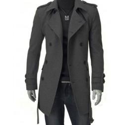 POP HOMME Woollen Belt Button Men's Overcoat