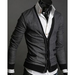 Double Tone Deep V-Neck Long Sleeve Mens Slim Sweater