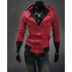 Two Tone Standing Collar Long Sleeve Zippered Mens Sweatshirt