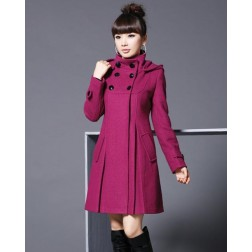 Women Double Breasted Button Hooded Overcoat