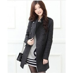 Double Breasted Stand-collar Womens Woollen Overcoat