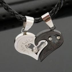 Romantic Titanium Steel Peach Heart Lovers Pendant Necklace